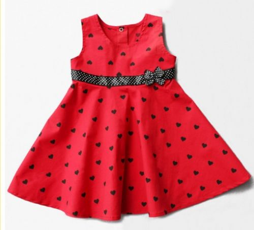 Baby girls red bow dress
